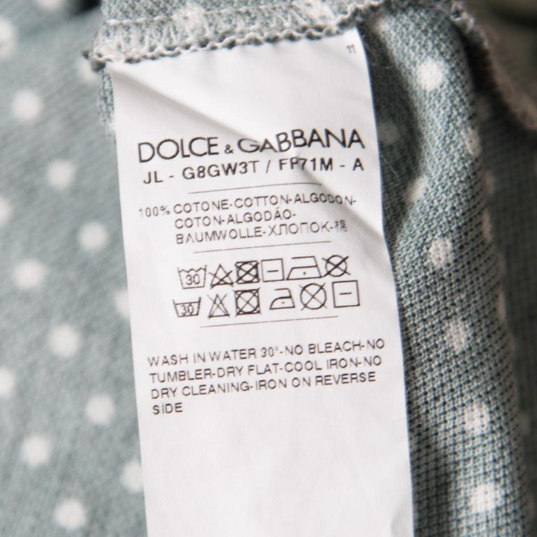 Men's Dolce and Gabbana Green and White Printed Polka Dotted Knit Polo T-Shirt M For Sale
