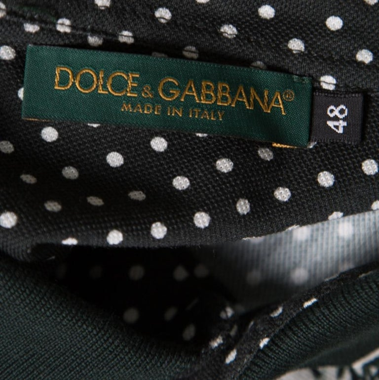 Dolce and Gabbana Green and White Printed Polka Dotted Knit Polo T-Shirt M For Sale 1