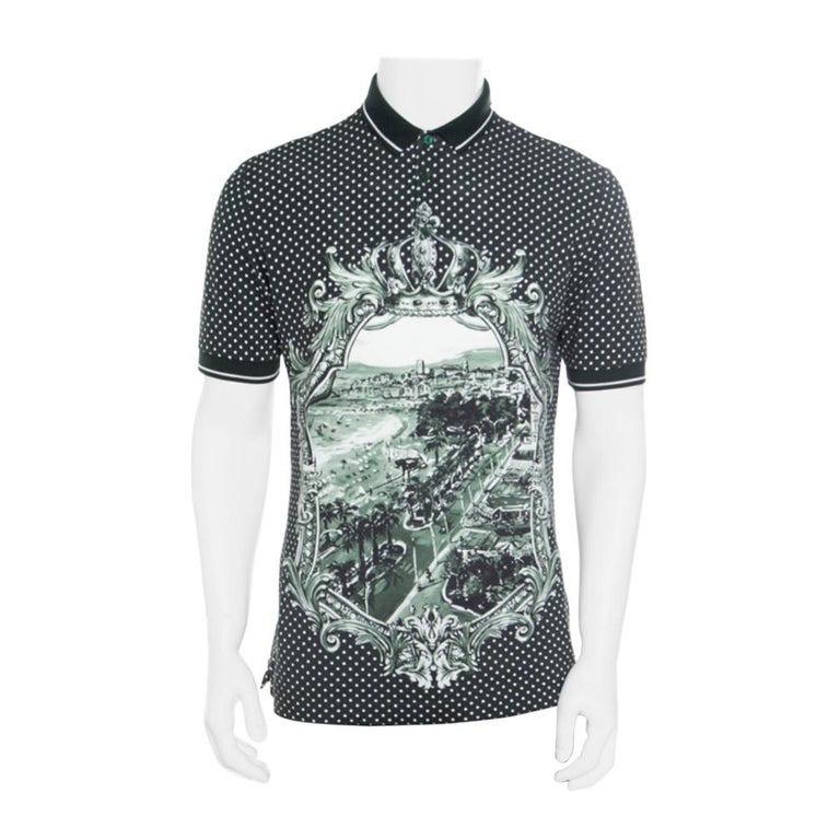 Dolce and Gabbana Green and White Printed Polka Dotted Knit Polo T-Shirt M For Sale