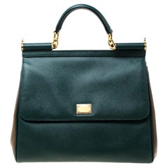 Dolce and Gabbana Green/Brown Leather Large Miss Sicily Top Handle Bag