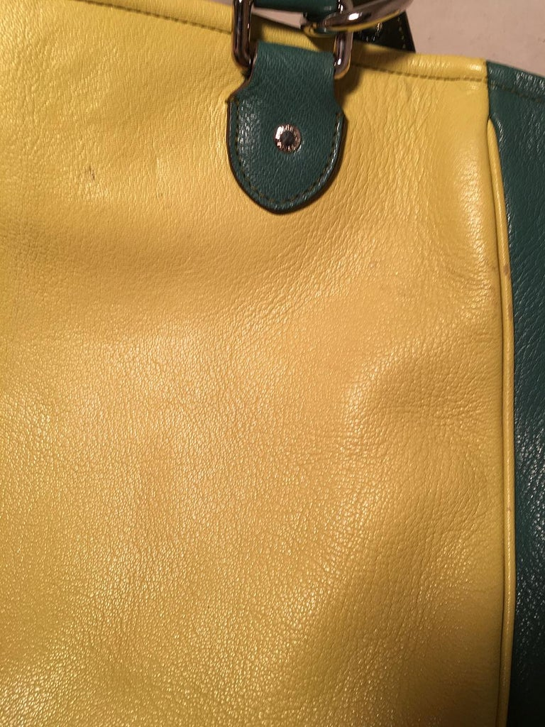 Dolce and Gabbana Green Color Block Miss Catch Large Lock Tote For Sale 6