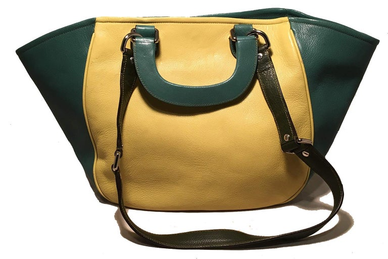 Black Dolce and Gabbana Green Color Block Miss Catch Large Lock Tote For Sale