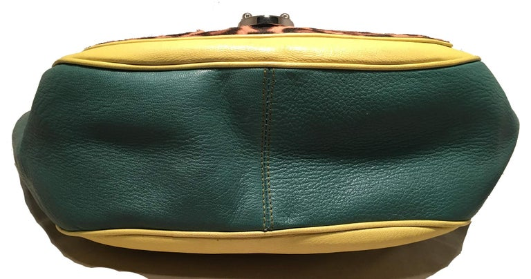 Dolce and Gabbana Green Color Block Miss Catch Large Lock Tote In Good Condition For Sale In Philadelphia, PA