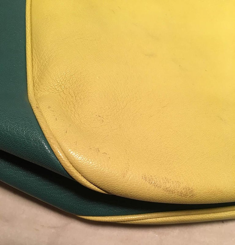 Dolce and Gabbana Green Color Block Miss Catch Large Lock Tote For Sale 4