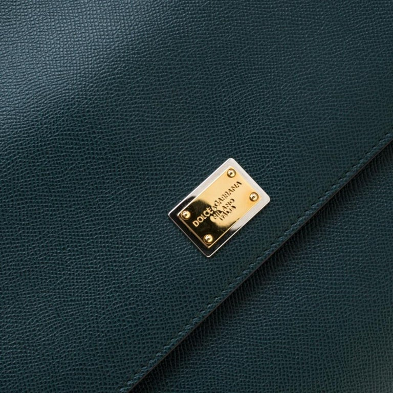 Dolce And Gabbana Green Dauphine Leather Large Miss Sicily Bag 5