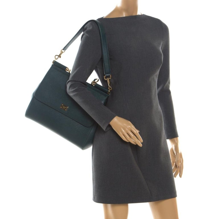 Black Dolce And Gabbana Green Dauphine Leather Large Miss Sicily Bag