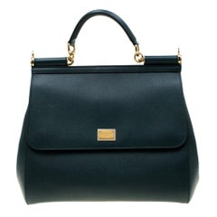 Dolce And Gabbana Green Dauphine Leather Large Miss Sicily Bag