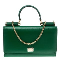 Dolce and Gabbana Green Leather Sicily Wallet on Chain