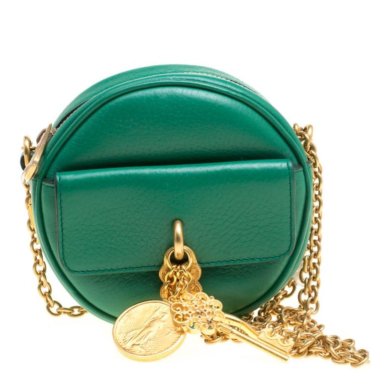 Dolce and Gabbana Green Leather Small Charm Miss Glam Crossbody Bag For Sale 509100a440fce
