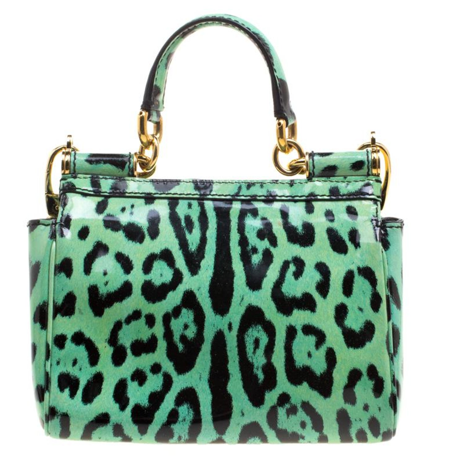 da616775f771 Dolce and Gabbana Green Leopard Print Patent Leather Small Miss Sicily Tote  with For Sale at 1stdibs