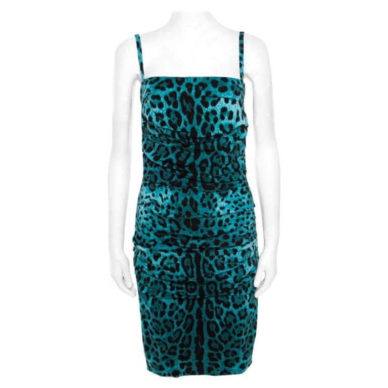 Dolce and Gabbana Green Leopard Printed Silk Sleeveless Ruched Cocktail Dress S For Sale