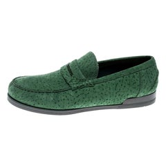Dolce and Gabbana Green Textured Suede Genova Loafers Size 42.5