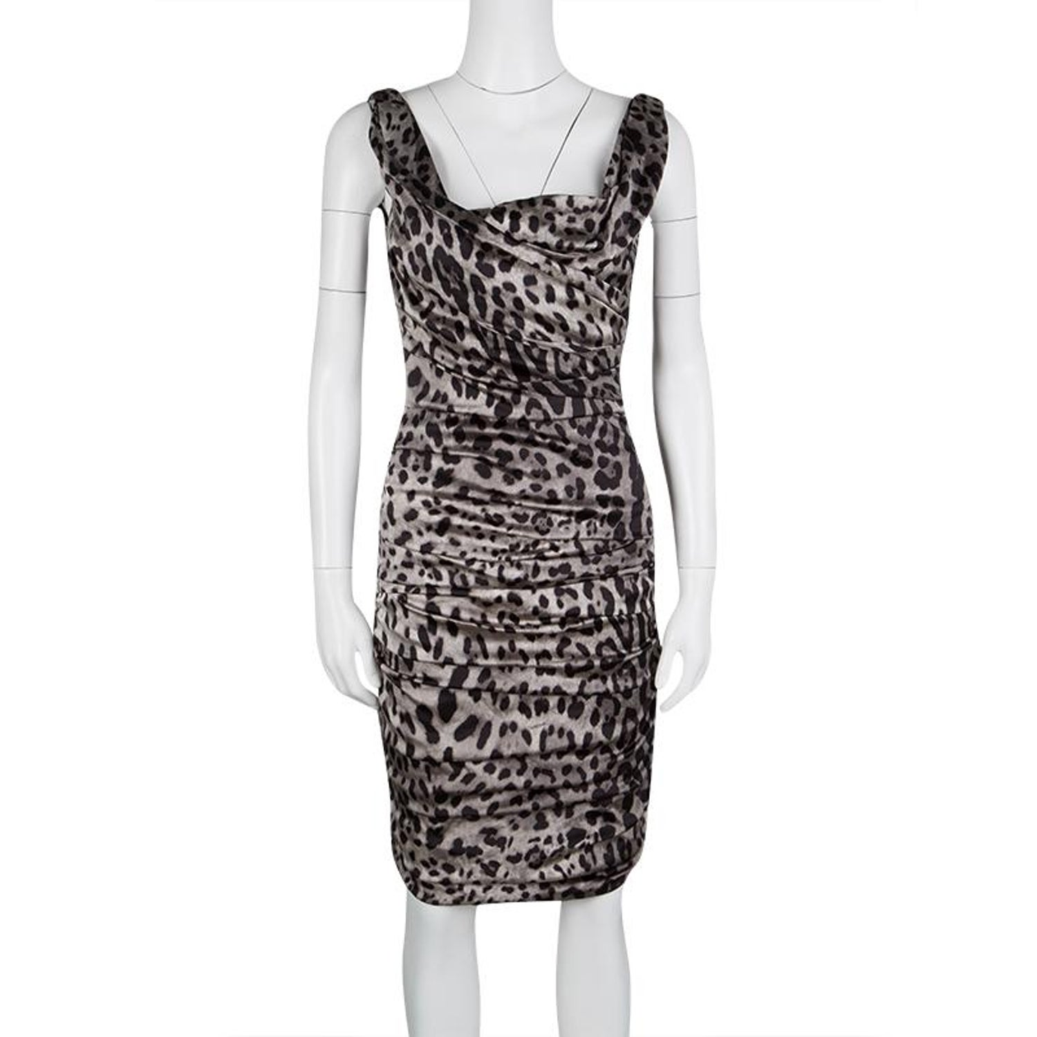 ffad9d44 Dolce and Gabbana Grey Animal Print Silk Ruched Sleeveless Dress S For Sale  at 1stdibs