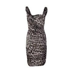 Dolce and Gabbana Grey Animal Print Silk Ruched Sleeveless Dress S