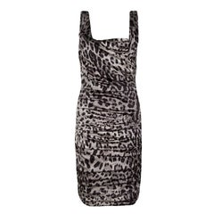 Dolce and Gabbana Grey Animal Print Silk Ruched Sleeveless Dress S