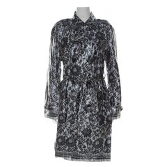 Dolce and Gabbana Grey Coated Silk Floral Lace Pattern Raincoat M