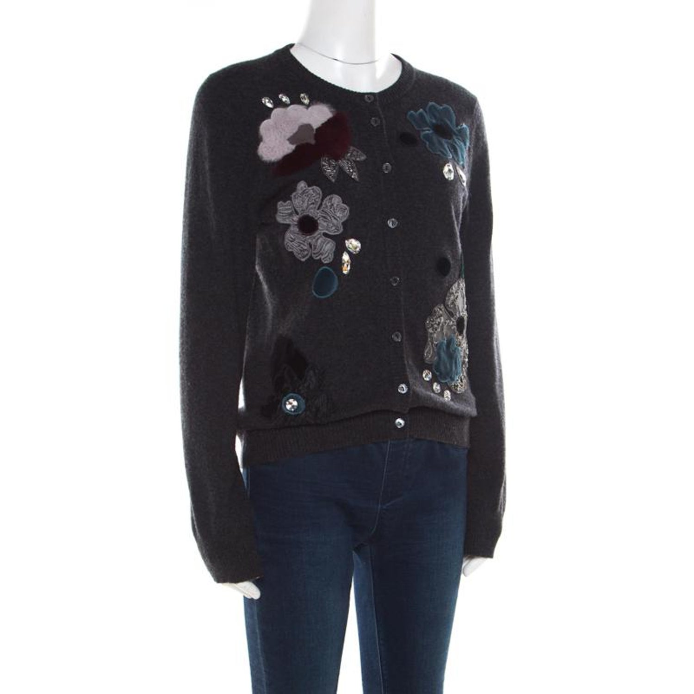 eda61546da95b0 Dolce and Gabbana Grey Embellished Floral Applique Detail Cashmere Cardigan  M For Sale at 1stdibs