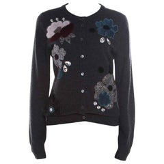 Dolce and Gabbana Grey Embellished Floral Applique Detail Cashmere Cardigan M