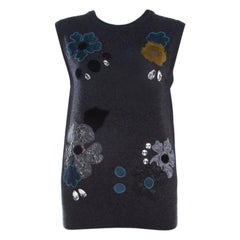 Dolce and Gabbana Grey Embellished Floral Applique Detail Cashmere Sweater Vest