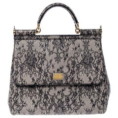 Dolce and Gabbana Grey Lace Print Leather Medium Miss Sicily Top Handle Bag