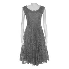 Dolce and Gabbana Grey Lace Sleeveless Flared Dress S