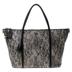 Dolce and Gabbana Grey Leather Lace Print Miss Escape Tote