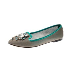 Dolce and Gabbana Grey Patent Leather Crystal Embellished Ballet Flats Size 40