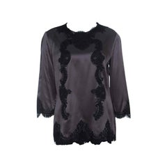 Dolce and Gabbana Grey Satin Scallop Lace Insert Long Sleeve Top L