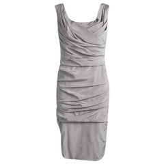 Dolce and Gabbana Grey Silk Ruched Sleeveless Dress M