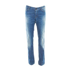 Dolce and Gabbana Indigo Faded Effect Distressed Denim Straight Fit Cute Jeans L