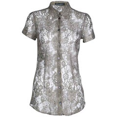 Dolce and Gabbana Khaki Floral Lace Short Sleeve Shirt S