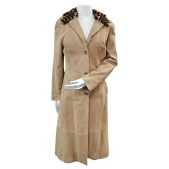 Pre-owned Dolce and Gabbana Lamb Suede Coat with Mink Fur Trim (S 4-6/S)