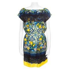 Dolce and Gabbana Lemon Mosaic Printed Silk Lace Trim Tunic Dress M