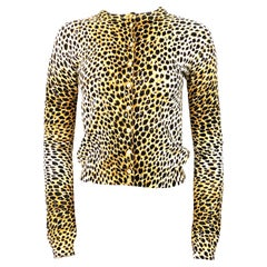 Dolce and Gabbana Leopard Cashmere Cardigan Sweater Size 40