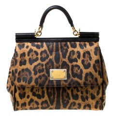 Dolce and Gabbana Leopard Print Coated Canvas and Leather Large Miss Sicily Top