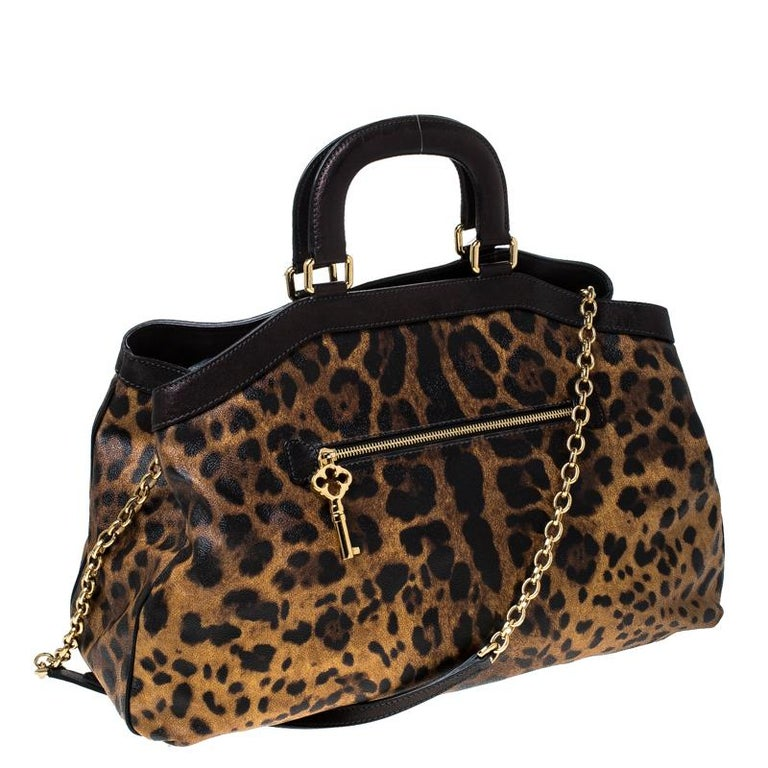 Dolce and Gabbana Leopard Print Coated Canvas and Leather Satchel For Sale 6
