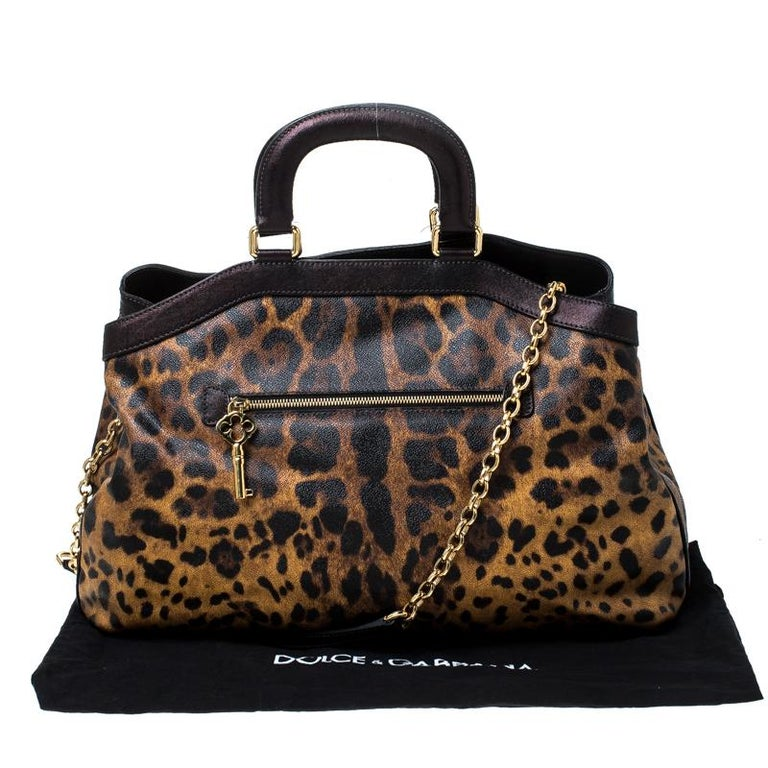 Dolce and Gabbana Leopard Print Coated Canvas and Leather Satchel For Sale 8