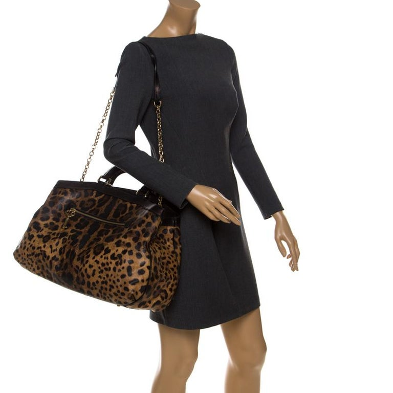 Dolce and Gabbana Leopard Print Coated Canvas and Leather Satchel In Good Condition For Sale In Dubai, Al Qouz 2