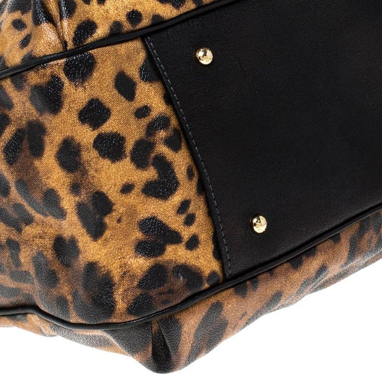 Dolce and Gabbana Leopard Print Coated Canvas and Leather Satchel For Sale 4