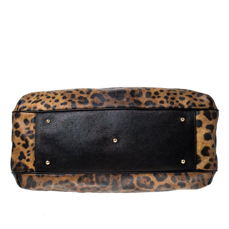 Dolce and Gabbana Leopard Print Coated Canvas and Leather Satchel For Sale 5