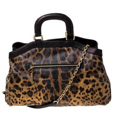 Dolce and Gabbana Leopard Print Coated Canvas and Leather Satchel