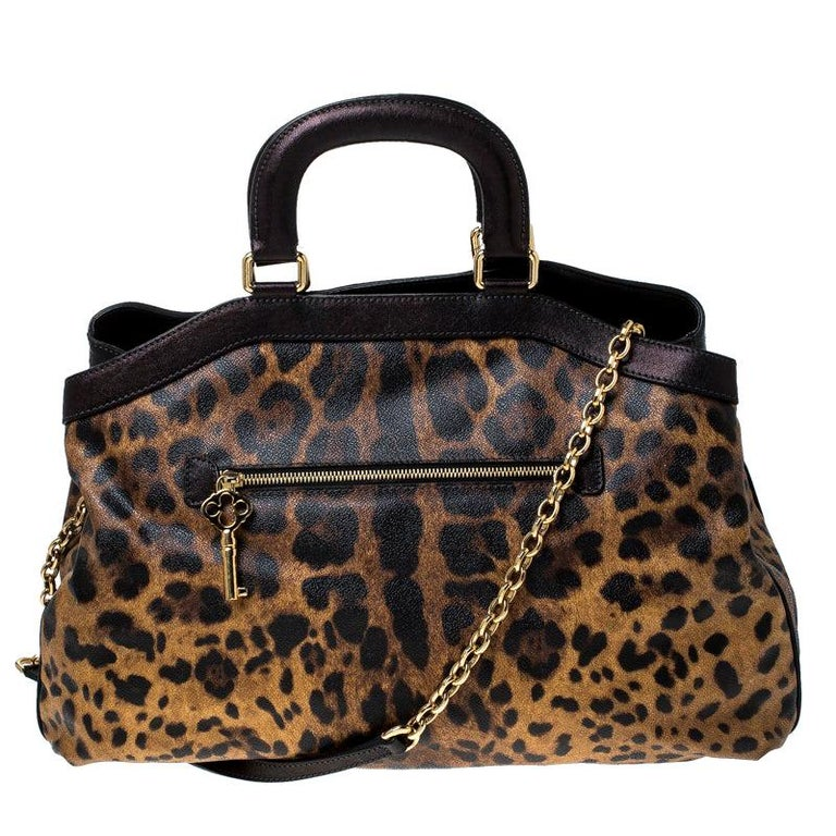 Dolce and Gabbana Leopard Print Coated Canvas and Leather Satchel For Sale