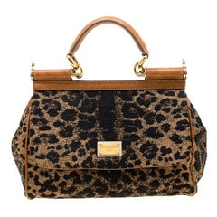 Dolce and Gabbana Leopard Print Fabric and Leather Medium Miss Sicily Top Handle