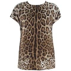 Dolce and Gabbana Leopard Print Jacquard Boxy Fit Blouse S