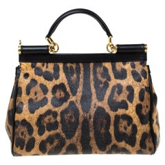 Dolce and Gabbana Leopard Print Leather Medium Miss Sicily Top Handle Bag