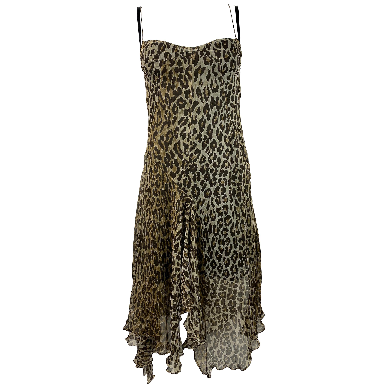 Dolce and Gabbana Leopard Slip Midi Dress Size 40