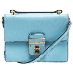 Dolce and Gabbana Light Blue Leather Mini Rosalia Crossbody Bag