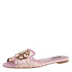 Dolce and Gabbana Lilac Lace Sofia Crystal Embellished Slides Size 39