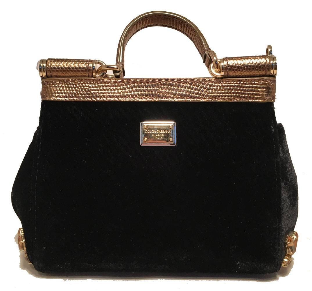 Dolce & Gabbana Limited Edition Black Velvet Alta Moda Sofia Handbag iilK9Y3R