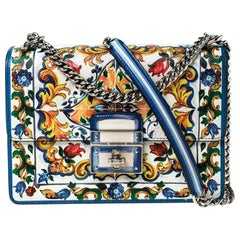 Dolce and Gabbana Majolica Print Leather Small Rosalia Flap Shoulder Bag